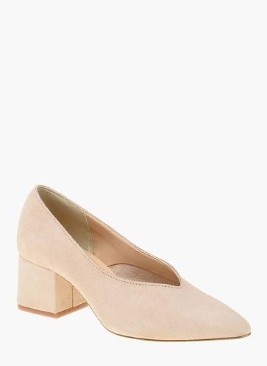 Divarese Kalın Topuklu %100 Deri Ayakkabı Ten